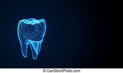 Isolated rotating tooth costructed with glowing points. Dental science animation. Digital tooth anatomy model. Oral health care concept