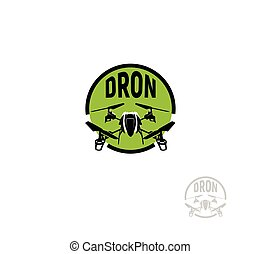 Isolated round shape black color quadrocopter in green circle logo on white background, unmanned aerial vehicle logotype, rc drone vector illustration