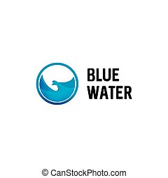 Isolated round shape blue color vector logo. Blue water in circle logotype.