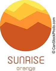 Isolated round sunrise vector logo. Mountains silhouette. Minimalistic evening sky.