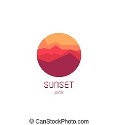 Isolated round sunset vector logo. Mountains silhouette. Minimalistic evening sky.