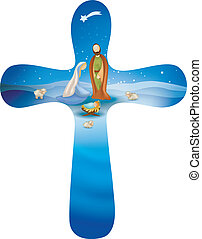 Isolated rounded christian cross whit vector nativity scene...