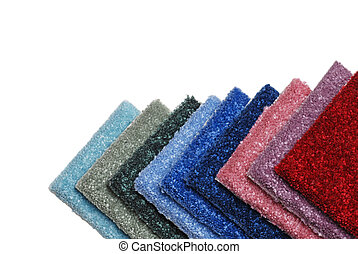 row of colorful carpet samples - isolated row of colorful...