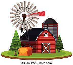 Isolated rural farm on white background illustration