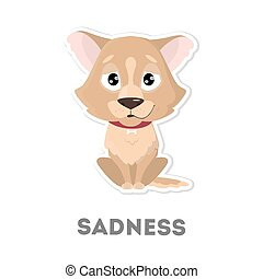 Isolated sad dog.