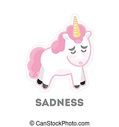 Isolated sad unicorn. - Isolated sad unicorn on white...
