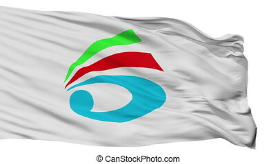 Isolated Saiki city flag, prefecture Oita, Japan - Saiki...