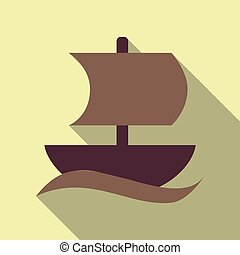 isolated sailboat icon flat style with shadow