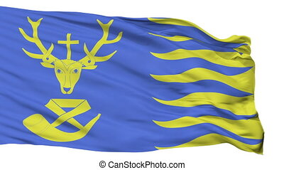 Isolated Saint Hubert city flag, Belgium - Saint Hubert...