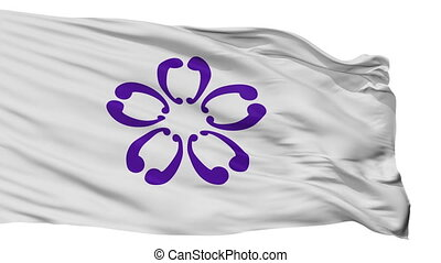 Isolated Sakura city flag, prefecture Chiba, Japan - Sakura...