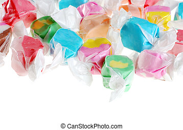 isolated salt water taffy on white background