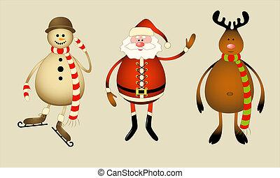 Santa Claus, snowman, reindeer
