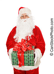Isolated Santa Holding Christmas Gift