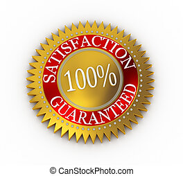 Isolated Satisfaction Guaranteed seal over white