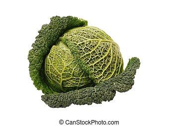 Isolated savoy cabbage - Savoy cabbage isolated on white