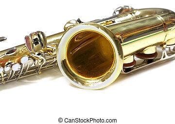 Saxophone - Isolated Saxophone music instrument on white...