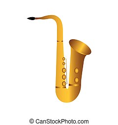 Isolated saxophone. Musical instrument