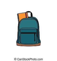 Isolated school bag with a book