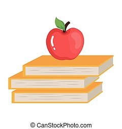 Isolated school books with apple vector design