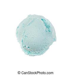 Isolated scoop of turquoise ice cream isolated on white background