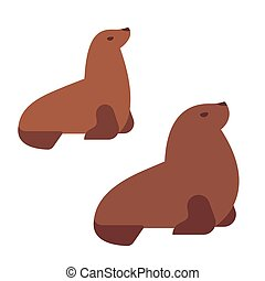 Isolated sea lions - Male and female Southern sea lions,...