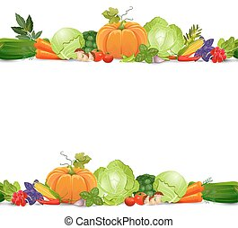 isolated seamless border with vegetables and herbs on white back