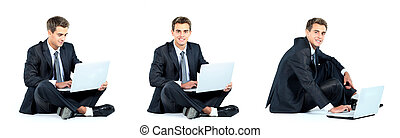Isolated seated young businessman