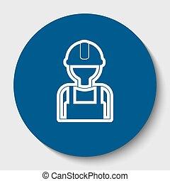 isolated., segno., lavoratore, contorno, scuro, fondo., vector., cerulean, cerchio, bianco, icona