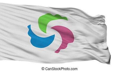 Isolated Senboku city flag, prefecture Akita, Japan -...