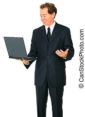 Isolated Senior Business Man Looking At Laptop And Making Hand G