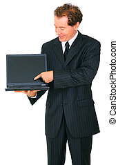 Isolated Senior Businessman Smiling Present Empty Screen Laptop