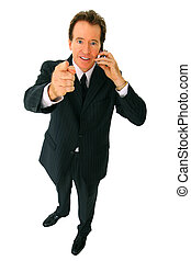 Isolated Senior Businessman Talking On The Phone