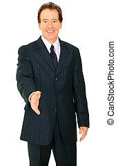 Isolated Senior Caucasian Businessman Offer Handshake
