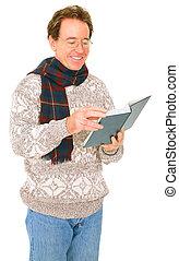 Isolated Senior Caucasian Man In Winter Suit Reading Book