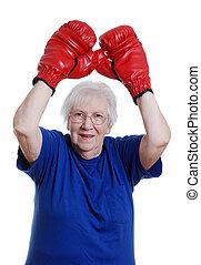 Senior woman winner boxing