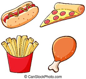 Isolated set of fastfood