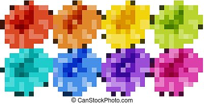 Isolated set of flowers