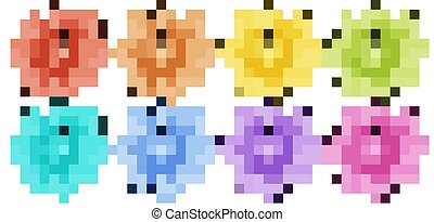 Isolated set of flowers in many colors