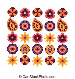 Isolated set of flowers ornament design