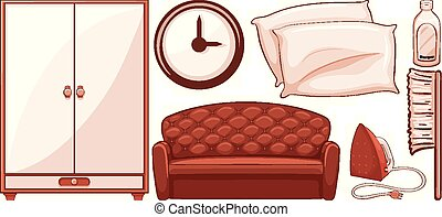 Isolated set of furnitures