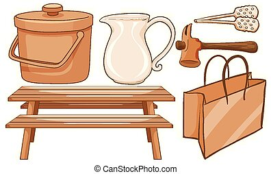 Isolated set of household items in brown