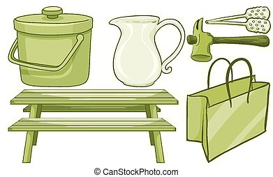 Isolated set of household items in green