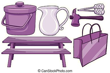 Isolated set of household items in purple