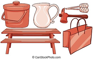Isolated set of household items in red