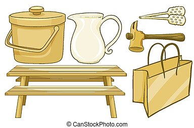 Isolated set of household items in yellow