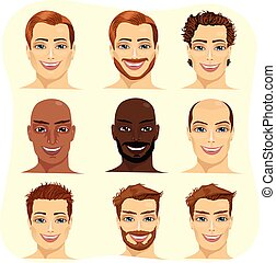 set of male avatar with different hairstyles