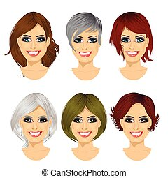 isolated set of middle aged woman avatar with different...