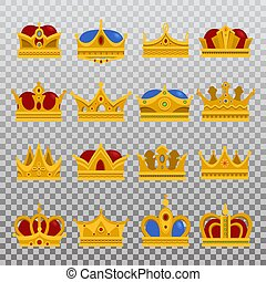 Isolated set of royal king or prince crown, pope tiara -...