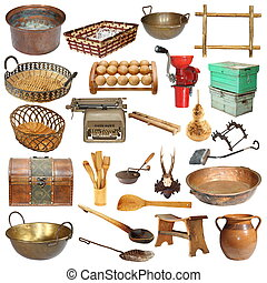 isolated set of vintage objects - set of vintage objects...