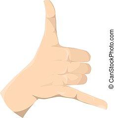 Isolated shaka sign. - Isolated shaka hand sign on white...